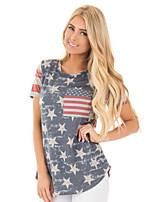 cheap -Women's T-shirt National Flag Round Neck Tops Gray