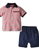 cheap -Kids Boys' Basic Striped Short Sleeve Clothing Set Red