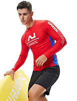 cheap -SEOBEAN® Men's Diving Rash Guard Top Breathable Long Sleeve Diving Surfing Water Sports Patchwork Autumn / Fall Spring Summer / Stretchy