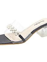 cheap -Women's Slippers & Flip-Flops Summer Pumps Open Toe Daily PU Black / Light Green / Beige