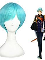 cheap -Cosplay Wig Ichigo Hitofuri Touken Ranbu Straight Cosplay Pixie Cut With Bangs Wig Short Blue Synthetic Hair 12 inch Men's Anime Cosplay Natural Blue