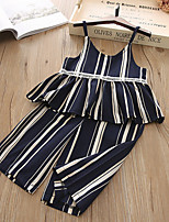 cheap -Toddler Girls' Active Boho School Wear Festival Blue & White Striped Patchwork Print Sleeveless Regular Regular Clothing Set Navy Blue