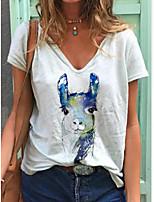 cheap -Women's T-shirt Animal Print V Neck Tops Summer White