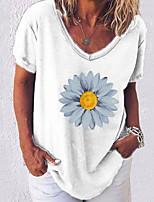 cheap -Women's T-shirt Graphic Tops V Neck Loose Daily White Black Blue S M L XL 2XL 3XL 4XL 5XL