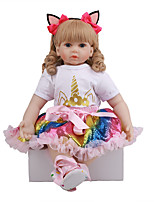 cheap -FeelWind 24 inch Reborn Doll Baby & Toddler Toy Reborn Toddler Doll Baby Girl Gift Cute Lovely Parent-Child Interaction Tipped and Sealed Nails 3/4 Silicone Limbs and Cotton Filled Body LV088 with