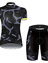 cheap -21Grams Women's Short Sleeve Cycling Jersey with Shorts Nylon Polyester Grey Patchwork Camo / Camouflage Bike Clothing Suit Breathable 3D Pad Quick Dry Ultraviolet Resistant Reflective Strips Sports