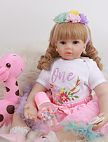 cheap -FeelWind 24 inch Reborn Doll Baby & Toddler Toy Reborn Toddler Doll Baby Girl Gift Cute Lovely Parent-Child Interaction Tipped and Sealed Nails 3/4 Silicone Limbs and Cotton Filled Body LV096 with