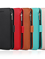 cheap -Case For Apple iPhone 7/8/7P/8P/X/XS/XR/XS Max/11/11 Pro/11 Pro Max/ SE 2020  Card Holder / Shockproof / Flip Full Body Cases Solid Colored PU Leather / TPU