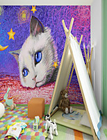 cheap -Art Deco  Landscape Home Decoration Custom Self Adhesive Mural Ghost Festival Pumpkin Cat Children Cartoon Style Suitable For Bedroom Children's Room School