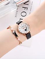 cheap -Women's Quartz Watches Casual Fashion Black White Pink PU Leather Quartz White+Coffee White Black Chronograph Cute Creative 1 set Analog