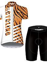 Недорогие -21Grams Жен. С короткими рукавами Велокофты и велошорты Нейлон Полиэстер Черный / оранжевый Пэчворк камуфляж Велоспорт Наборы одежды Дышащий 3D / Эластичная / Горные велосипеды / Шоссейные велосипеды