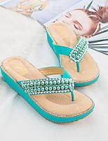cheap -Women's Slippers & Flip-Flops Summer Wedge Heel Open Toe Daily PU Almond / White / Black