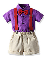 cheap -Kids Toddler Boys' Basic Solid Colored Short Sleeve Clothing Set Purple