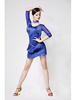 cheap -Latin Dance Dress Pearls Tassel Women's Training Performance Half Sleeve Natural Milk Fiber