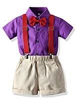 cheap -Kids Boys' Basic Color Block Short Sleeve Clothing Set Purple