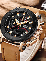 cheap -LIGE Men's Sport Watch Quartz Modern Style Sporty Leather Water Resistant / Waterproof Noctilucent Analog Casual Outdoor - Black+Gloden Black Blue / Stainless Steel