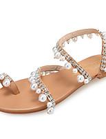 cheap -Women's Flats Boho / Beach Summer Flat Heel Open Toe Sweet Minimalism Daily Beach Rhinestone / Imitation Pearl Solid Colored PU Brown