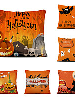 cheap -Set of 6 Halloween Night Linen Square Decorative Throw Pillow Cases Sofa Cushion Covers