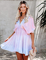cheap -Women's A-Line Dress Short Mini Dress - Half Sleeve Tie Dye Summer Casual 2020 Blushing Pink S M L XL