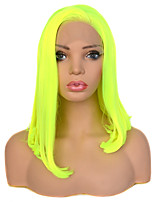 cheap -Vogue Queen Bright Yellow Green 14 Inch Straight Heat Resistant Fiber Synthetic Lace Front Wig Cosplay For Women