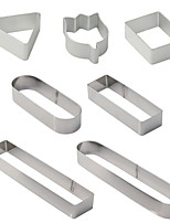 cheap -Printing Cookie Mold 7-piece Set Stainless Steel Oval Rectangular Triangle Mousse Circle Baking Tools