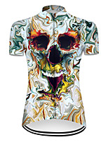 cheap -21Grams Women's Short Sleeve Cycling Jersey Nylon Polyester Blue / White 3D Novelty Skull Bike Jersey Top Mountain Bike MTB Road Bike Cycling Breathable Quick Dry Ultraviolet Resistant Sports