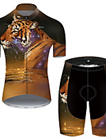 cheap -21Grams Men's Short Sleeve Cycling Jersey with Shorts Nylon Polyester Black / Yellow Galaxy Animal Tiger Bike Clothing Suit Breathable 3D Pad Quick Dry Ultraviolet Resistant Reflective Strips Sports