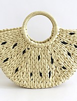 cheap -Women's Straw Top Handle Bag Straw Bag Solid Color Beige