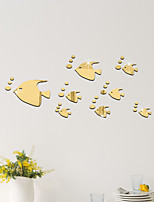 cheap -32PCS Fish Acrylic 3D Mirror Wall Stickers Decorative For Kid