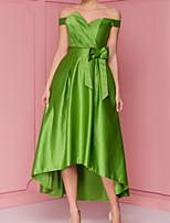 cheap -A-Line Minimalist Vintage Engagement Cocktail Party Dress Off Shoulder Short Sleeve Asymmetrical Satin with Bow(s) Pleats 2020