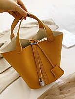 cheap -Women's Zipper PU Leather Top Handle Bag Leather Bags Solid Color Black / Yellow / Khaki