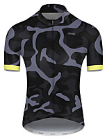 cheap -21Grams Men's Short Sleeve Cycling Jersey Nylon Polyester Grey Patchwork Camo / Camouflage Bike Jersey Top Mountain Bike MTB Road Bike Cycling Breathable Quick Dry Ultraviolet Resistant Sports