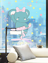 cheap -Cute Cartoon Elephant Pattern Matte Window Sticker Bathroom Kitchen Kids Room Shop Living Room Bedroom Balcony Window Film 60*58cm