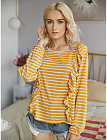 cheap -Women's T-shirt Striped Long Sleeve Ruffle Round Neck Tops Basic Basic Top Blue Yellow Blushing Pink