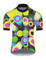cheap -21Grams Men's Short Sleeve Cycling Jersey Nylon Polyester Green / Yellow Polka Dot 3D Gradient Bike Jersey Top Mountain Bike MTB Road Bike Cycling Breathable Quick Dry Ultraviolet Resistant Sports
