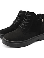 cheap -Women's Boots Winter Flat Heel Round Toe Casual Daily Outdoor Suede Booties / Ankle Boots Black