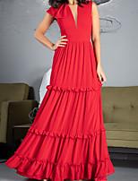 cheap -A-Line Elegant Minimalist Engagement Formal Evening Dress V Neck Sleeveless Floor Length Chiffon with Pleats Ruffles 2020
