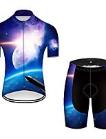 Недорогие -21Grams Муж. С короткими рукавами Велокофты и велошорты Нейлон Полиэстер Черный / синий 3D Градиент ракета Велоспорт Наборы одежды Дышащий 3D / Эластичная / Горные велосипеды / Шоссейные велосипеды