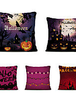 cheap -Set of 5 Halloween Night Linen Square Decorative Throw Pillow Cases Sofa Cushion Covers