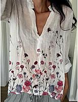 cheap -Women's Blouse Floral Tops V Neck Daily White S M L XL 2XL 3XL 4XL 5XL