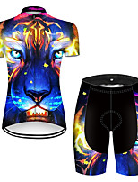 cheap -21Grams Women's Short Sleeve Cycling Jersey with Shorts Nylon Polyester Black / Blue Gradient Animal Lion Bike Clothing Suit Breathable 3D Pad Quick Dry Ultraviolet Resistant Reflective Strips Sports