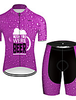 cheap -21Grams Men's Short Sleeve Cycling Jersey with Shorts Nylon Polyester Violet 3D Gradient Oktoberfest Beer Bike Clothing Suit Breathable 3D Pad Quick Dry Ultraviolet Resistant Reflective Strips Sports
