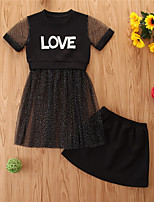 cheap -Toddler Girls' Basic Casual Print Short Sleeve Regular Regular Clothing Set Black