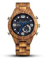 cheap -Men's Sport Watch Digital Wood Large Dial Analog - Digital Fashion Wood - Black Brown Coffee