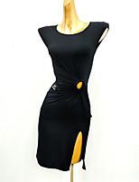 Недорогие -Латино Платье С разрезами Комбинация материалов Жен. Учебный Выступление Без рукавов Ice Silk (искусственное волокно)