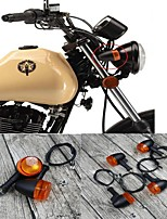 cheap -Universal 4PCS Retro Motorcycle Bike Flasher Black Front Rear Blinker Turn Lights Indicator