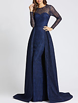 cheap -Mermaid / Trumpet Elegant Cut Out Engagement Formal Evening Dress Illusion Neck Long Sleeve Sweep / Brush Train Satin with Overskirt Lace Insert 2020