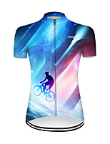 cheap -21Grams Women's Short Sleeve Cycling Jersey Nylon Polyester Red+Blue 3D Patchwork Gradient Bike Jersey Top Mountain Bike MTB Road Bike Cycling Breathable Quick Dry Ultraviolet Resistant Sports