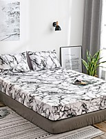 cheap -White Marble Fitted Sheet Bedding Soft Microfiber Sheets White Marble Pattern Soft Hypo-allergenic Wrinkle Resistant Durable Deep Pocket Bedding Bottom Sheet Single/Full/Queen/King