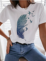cheap -Women's T-shirt Graphic Prints Round Neck Tops Loose 100% Cotton Basic Summer White